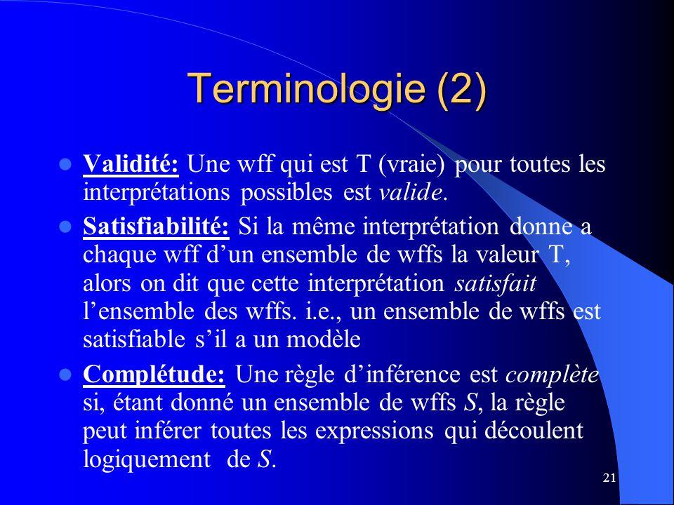 Terminologie (2) Validité: Une wff qui est T (vraie) pour toutes les interprétations possibles est valide.
