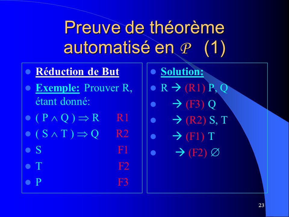 Preuve de théorème automatisé en P (1)