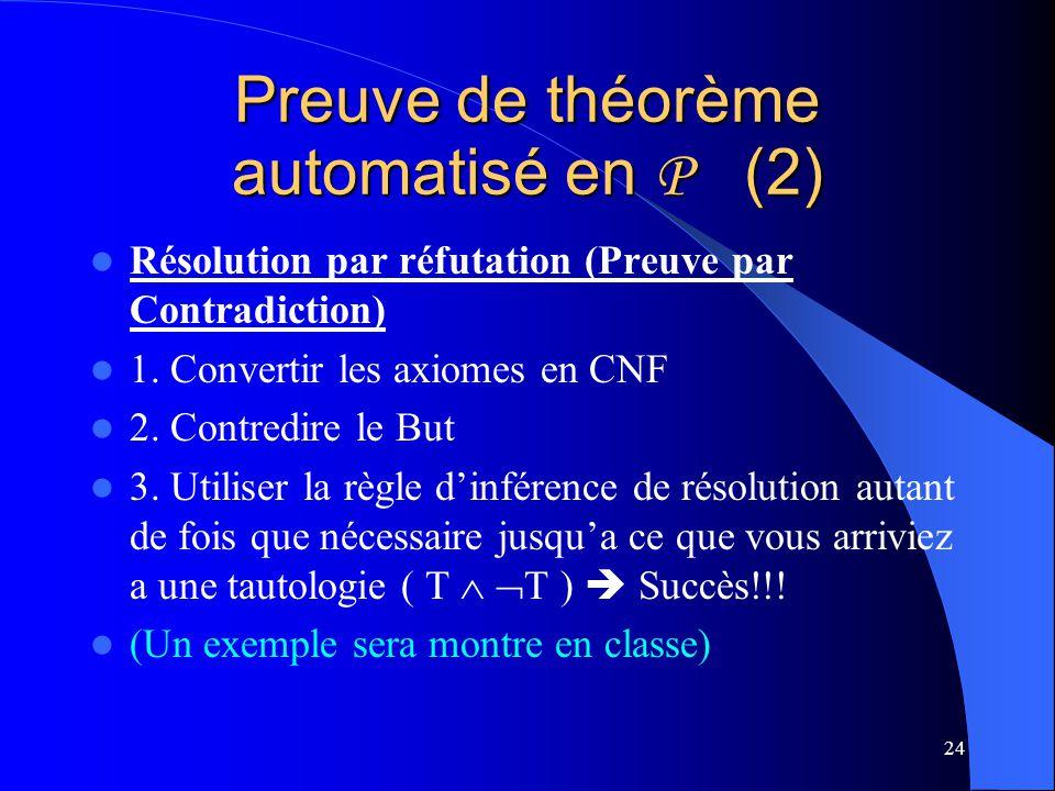 Preuve de théorème automatisé en P (2)