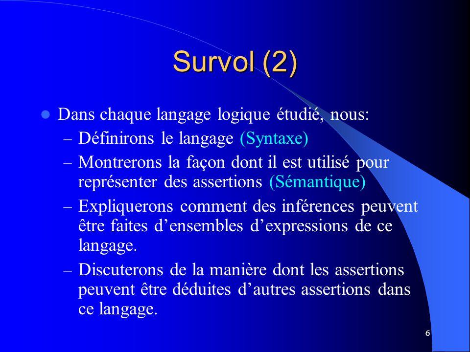 Survol (2) Dans chaque langage logique étudié, nous: