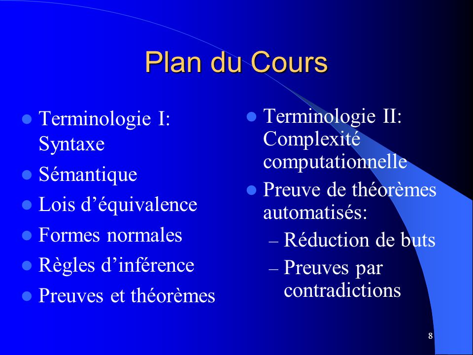 Plan du Cours Terminologie I: Syntaxe Sémantique Lois d'équivalence