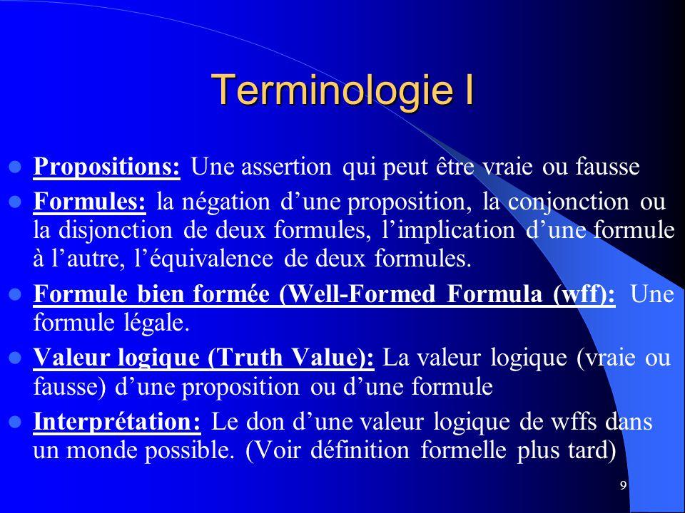 Terminologie I Propositions: Une assertion qui peut être vraie ou fausse.