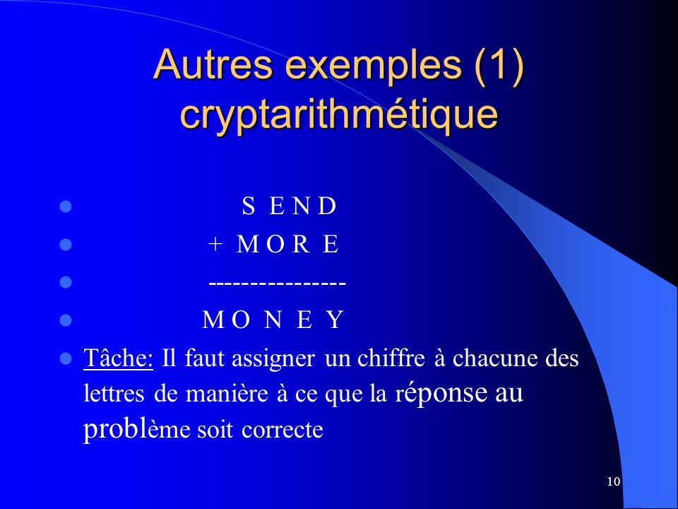 Autres exemples (1) cryptarithmétique