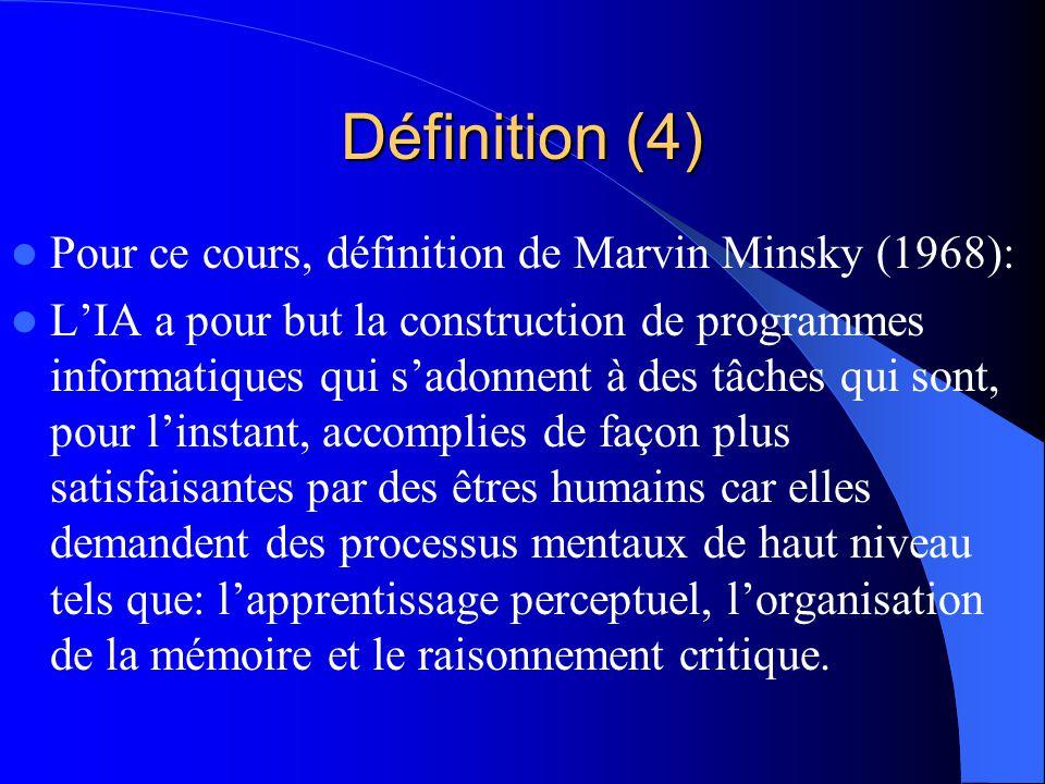 Définition (4) Pour ce cours, définition de Marvin Minsky (1968):