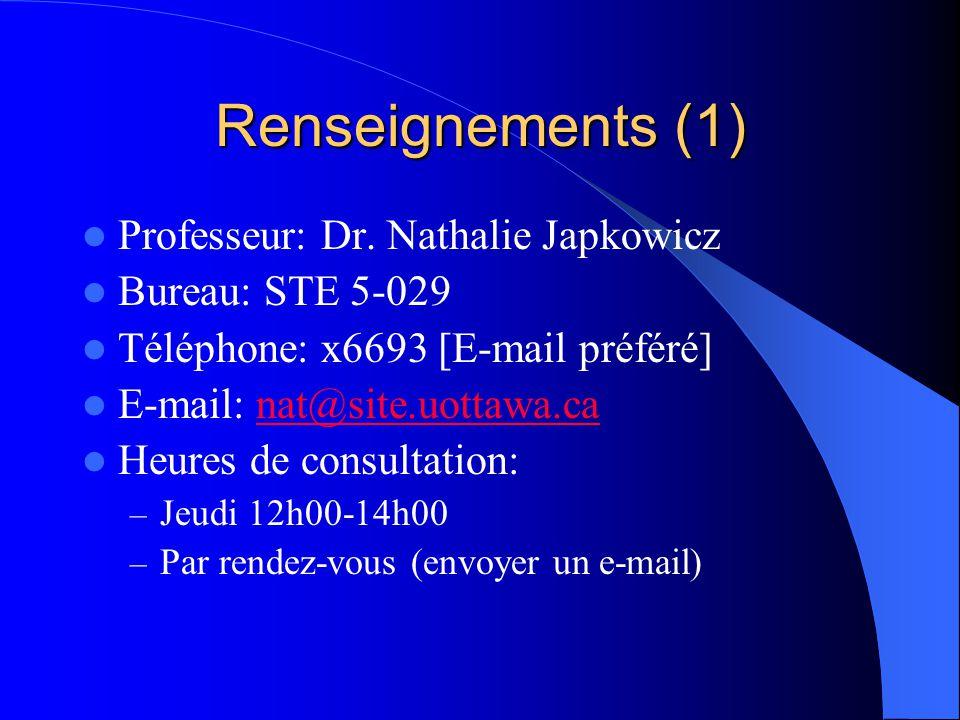 Renseignements (1) Professeur: Dr. Nathalie Japkowicz