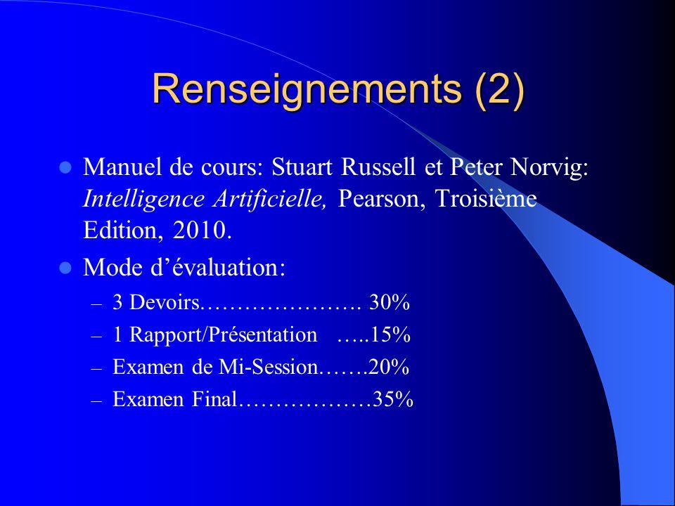 Renseignements (2) Manuel de cours: Stuart Russell et Peter Norvig: Intelligence Artificielle, Pearson, Troisième Edition, 2010.