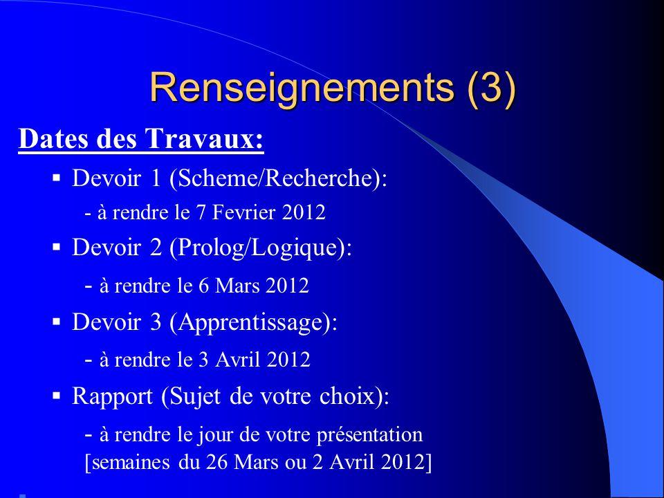 Renseignements (3) Dates des Travaux: Devoir 1 (Scheme/Recherche):