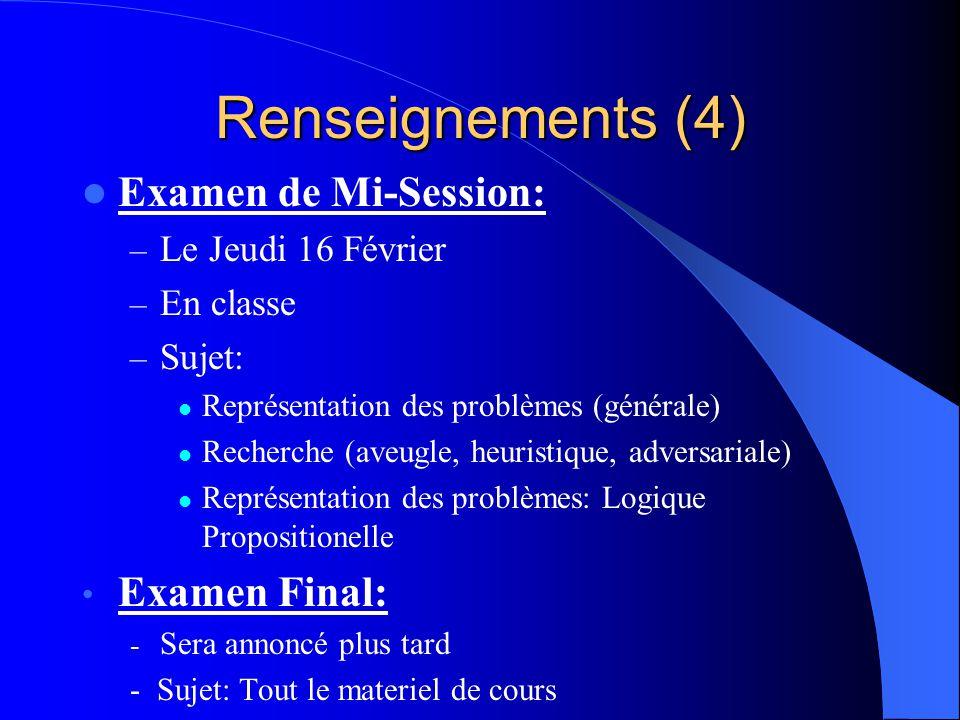Renseignements (4) Examen de Mi-Session: Examen Final: