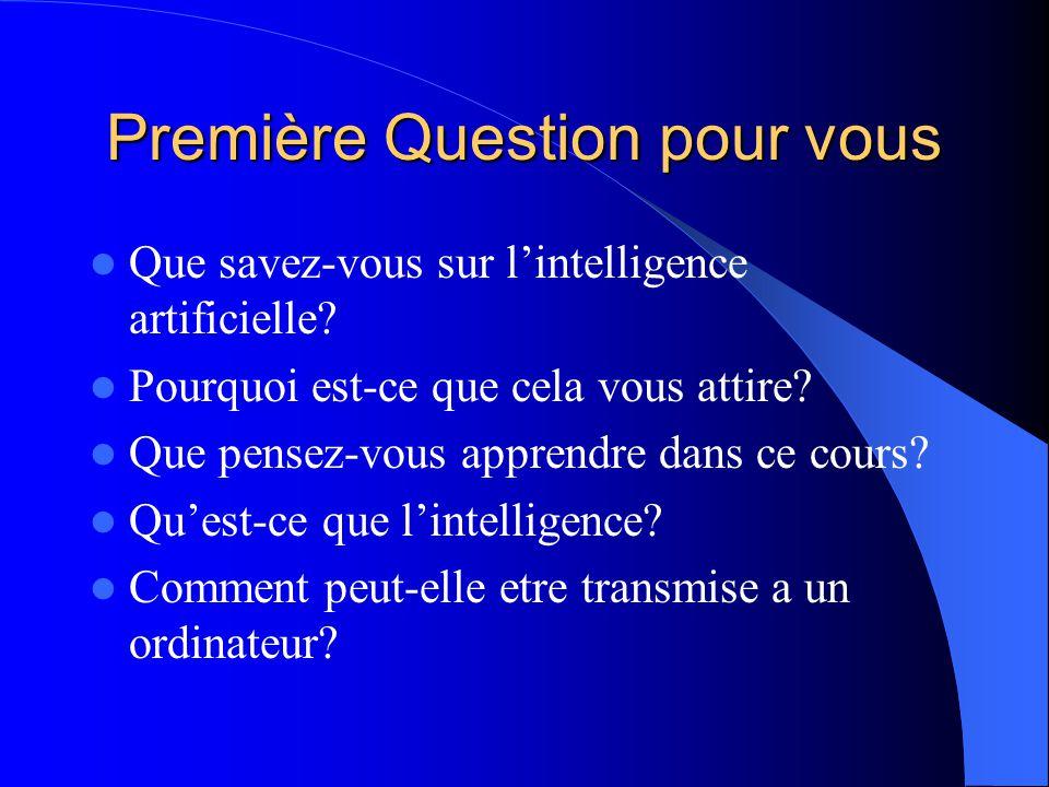 Première Question pour vous