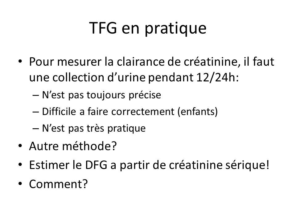 TFG en pratique Pour mesurer la clairance de créatinine, il faut une collection d'urine pendant 12/24h: