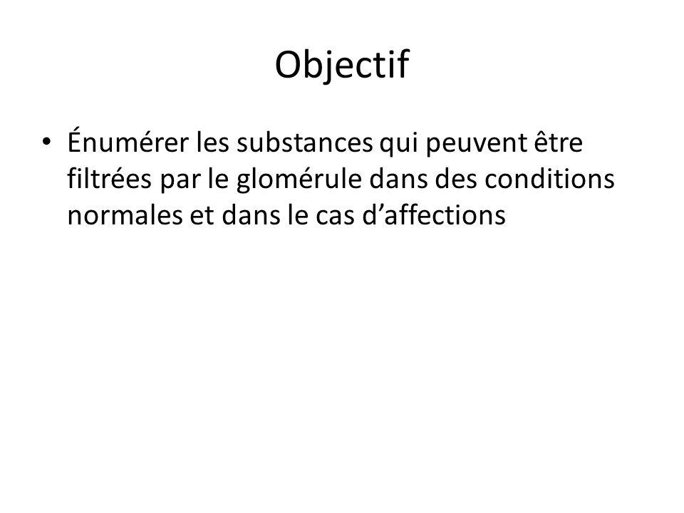 Objectif Énumérer les substances qui peuvent être filtrées par le glomérule dans des conditions normales et dans le cas d'affections.