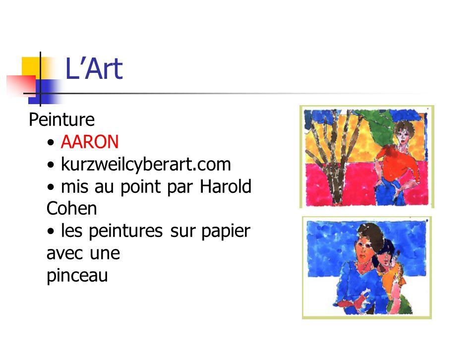 L'Art Peinture • AARON • kurzweilcyberart.com • mis au point par Harold Cohen • les peintures sur papier avec une pinceau.