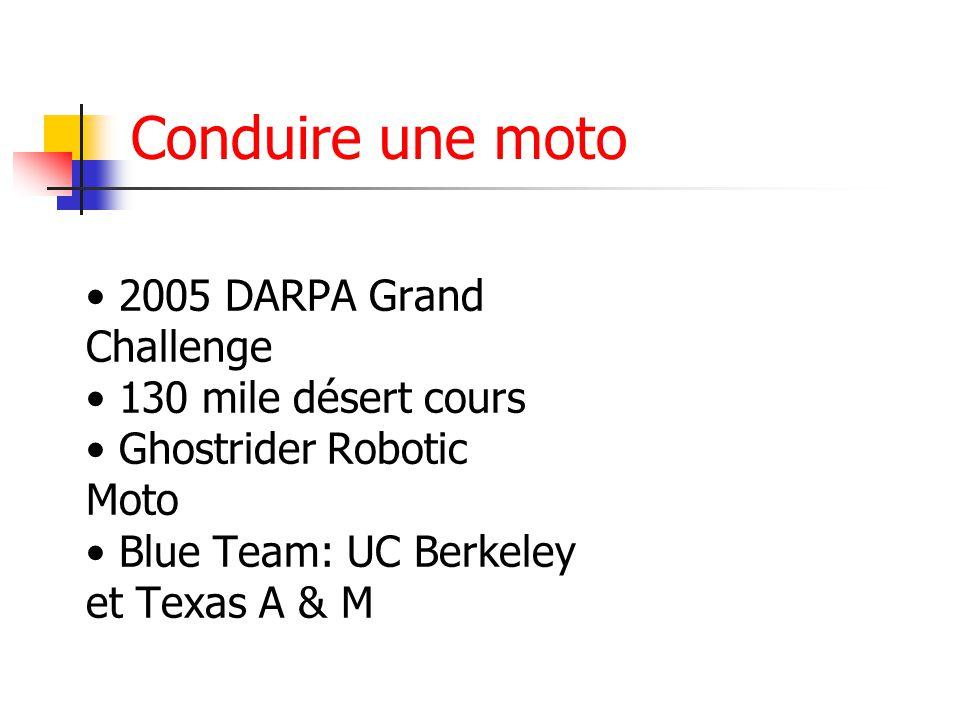 Conduire une moto • 2005 DARPA Grand Challenge • 130 mile désert cours • Ghostrider Robotic Moto • Blue Team: UC Berkeley et Texas A & M.
