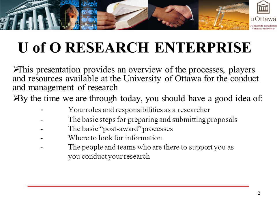 U of O RESEARCH ENTERPRISE