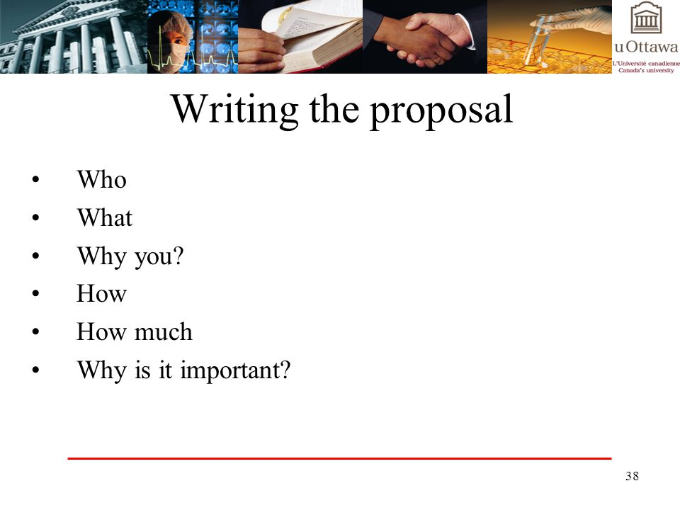 Writing the proposal Who What Why you How How much