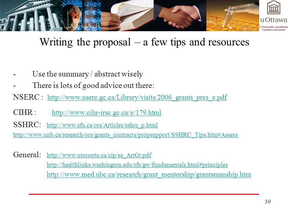 Writing the proposal – a few tips and resources