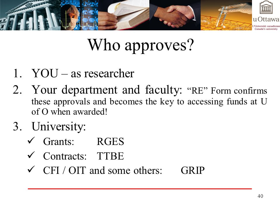 Who approves 1. YOU – as researcher
