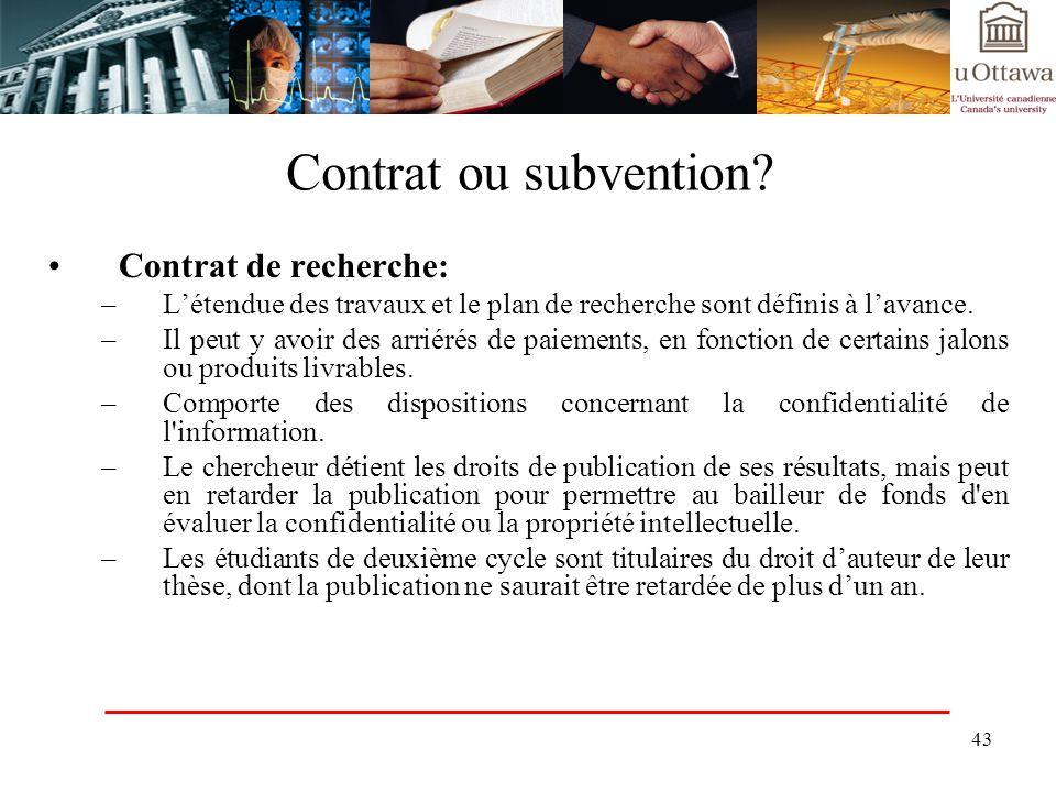 Contrat ou subvention Contrat de recherche: