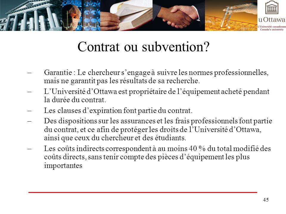 Contrat ou subvention Garantie : Le chercheur s'engage à suivre les normes professionnelles, mais ne garantit pas les résultats de sa recherche.