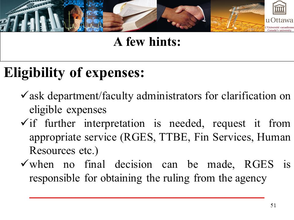 Eligibility of expenses: