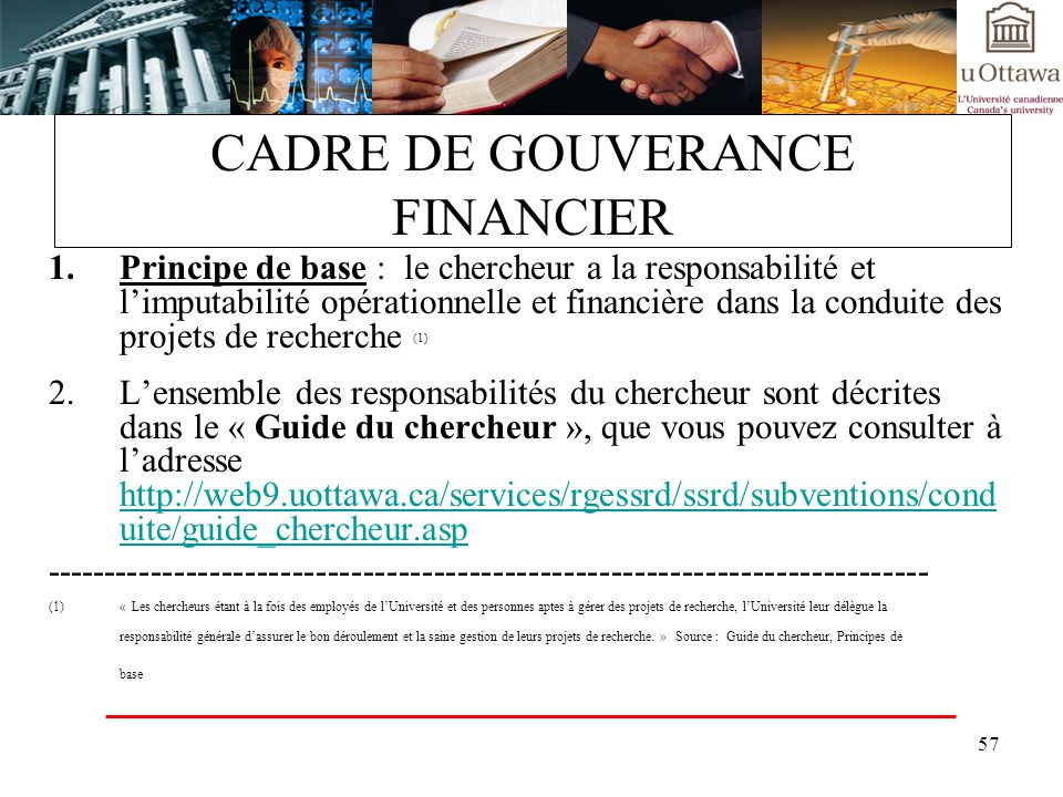 CADRE DE GOUVERANCE FINANCIER