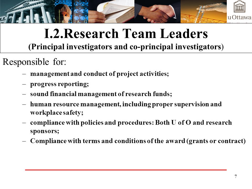 I.2.Research Team Leaders (Principal investigators and co-principal investigators)
