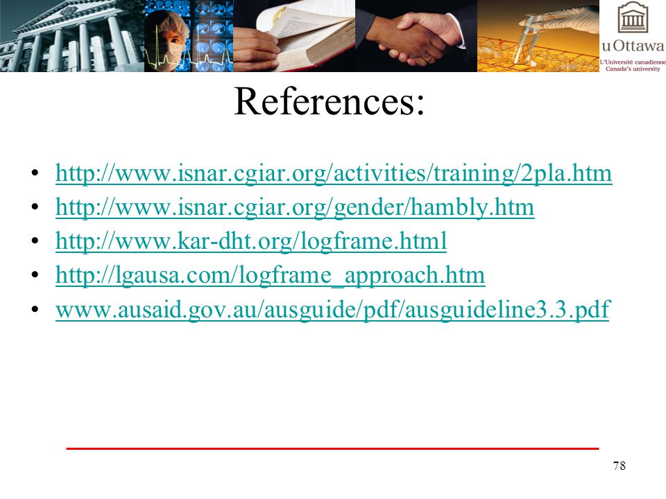 References: http://www.isnar.cgiar.org/activities/training/2pla.htm