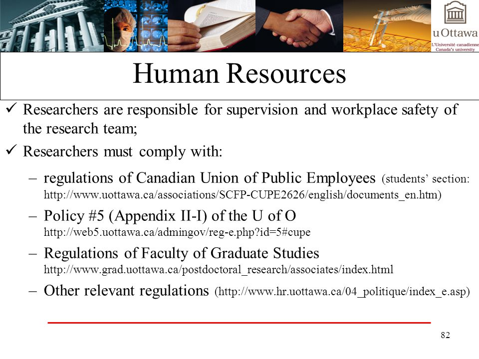 Human Resources Researchers are responsible for supervision and workplace safety of the research team;