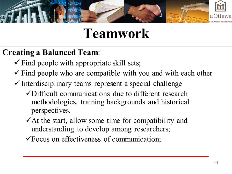Teamwork Creating a Balanced Team: