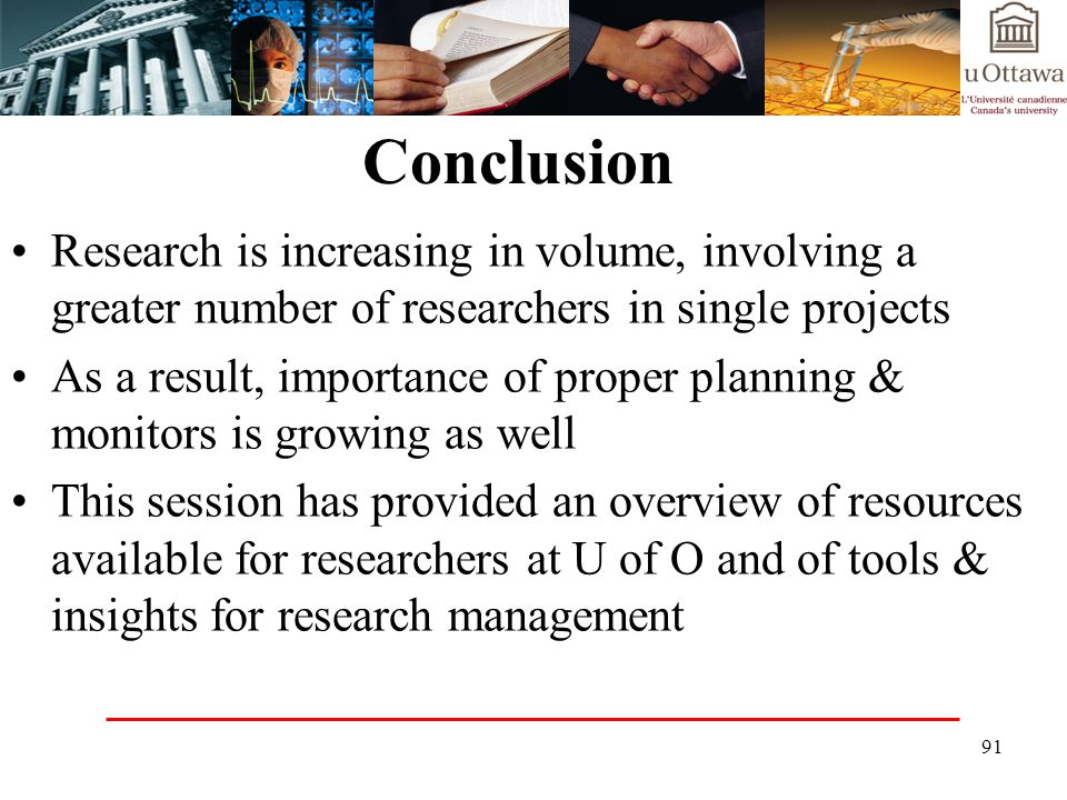 Conclusion Research is increasing in volume, involving a greater number of researchers in single projects.