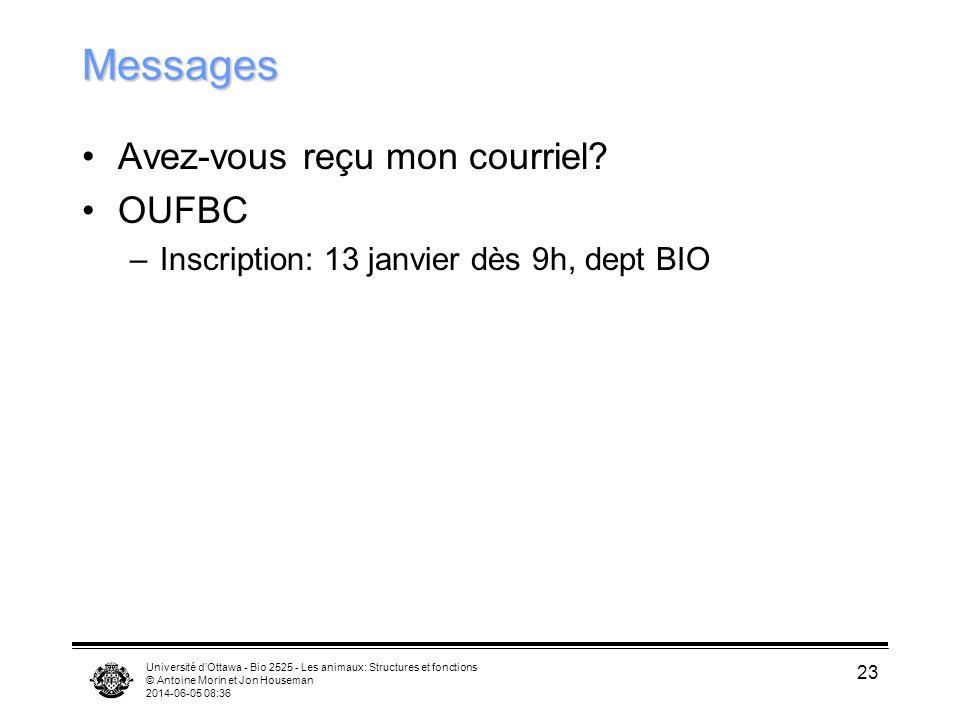 Messages Avez-vous reçu mon courriel OUFBC