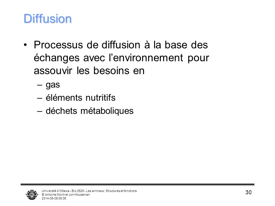 Diffusion Processus de diffusion à la base des échanges avec l'environnement pour assouvir les besoins en.