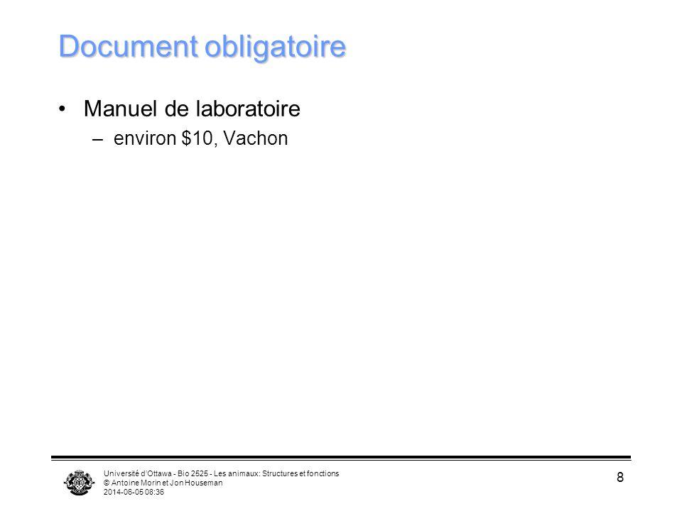 Document obligatoire Manuel de laboratoire environ $10, Vachon