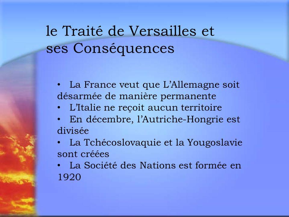 le Traité de Versailles et ses Conséquences