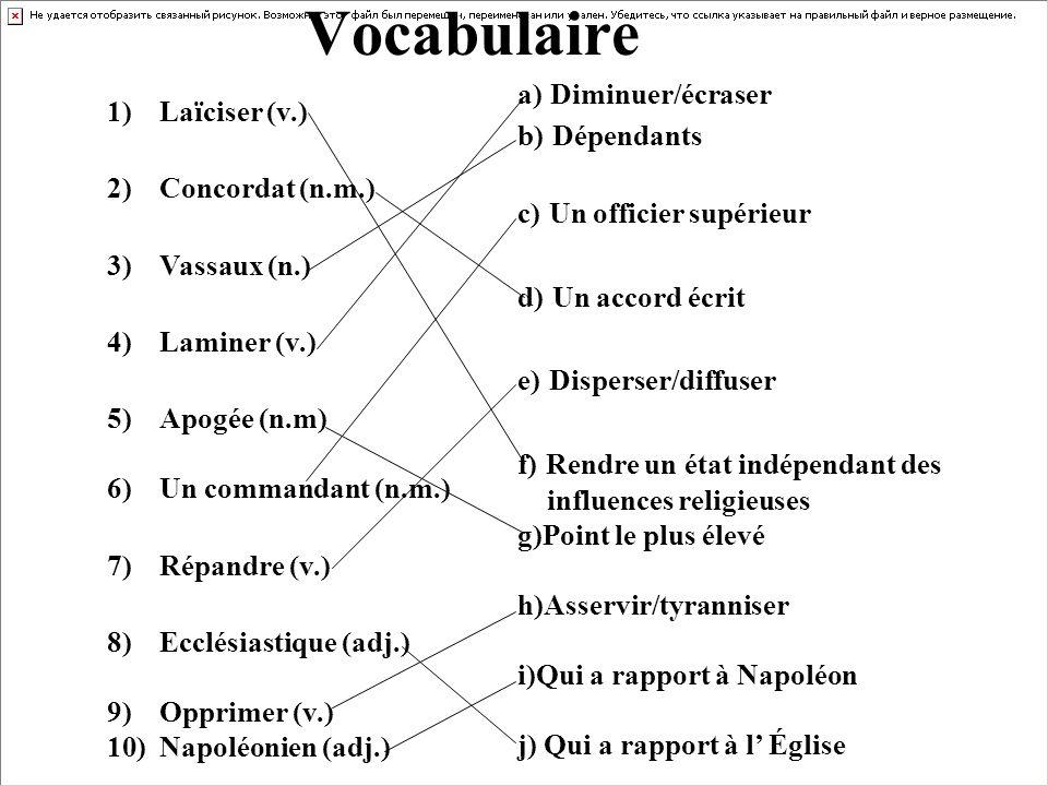 Vocabulaire a) Diminuer/écraser Laïciser (v.) b) Dépendants