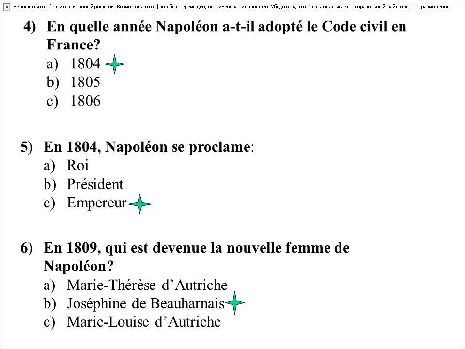 4) En quelle année Napoléon a-t-il adopté le Code civil en