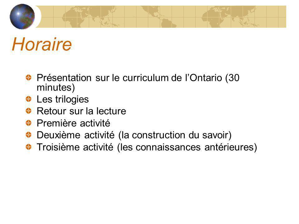 Horaire Présentation sur le curriculum de l'Ontario (30 minutes)
