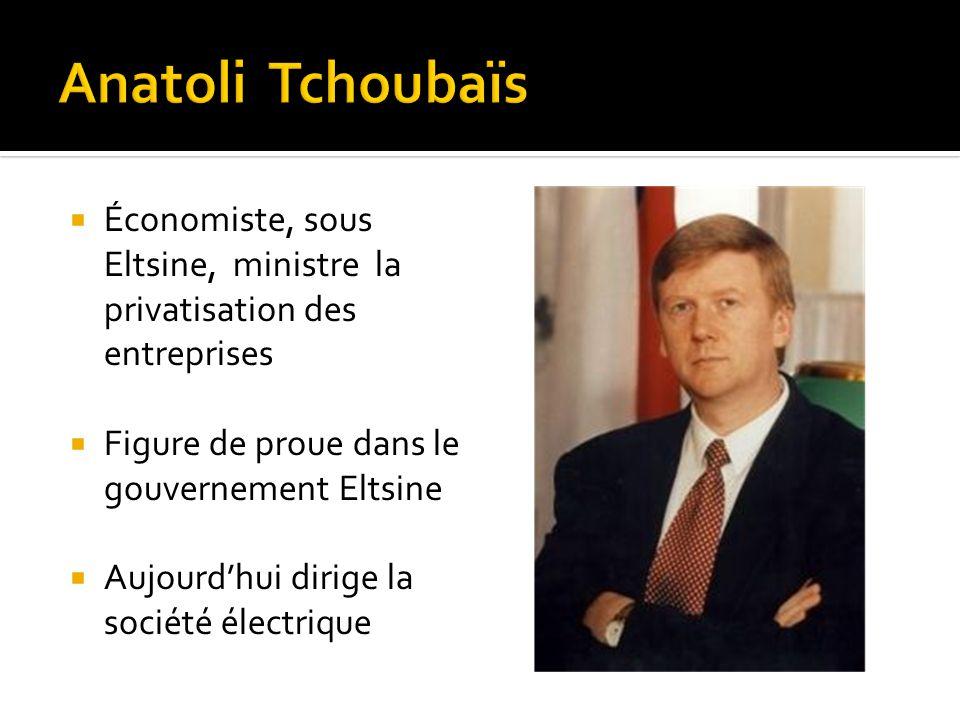 Anatoli Tchoubaïs Économiste, sous Eltsine, ministre la privatisation des entreprises. Figure de proue dans le gouvernement Eltsine.