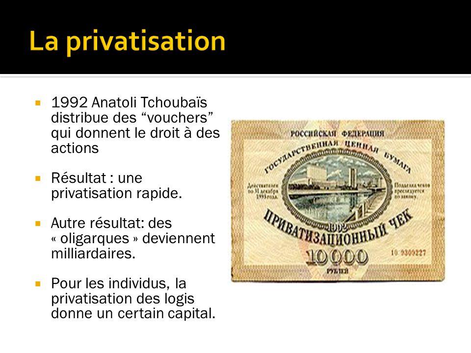 La privatisation 1992 Anatoli Tchoubaïs distribue des vouchers qui donnent le droit à des actions.