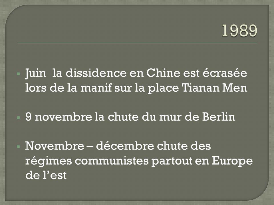 1989 Juin la dissidence en Chine est écrasée lors de la manif sur la place Tianan Men. 9 novembre la chute du mur de Berlin.