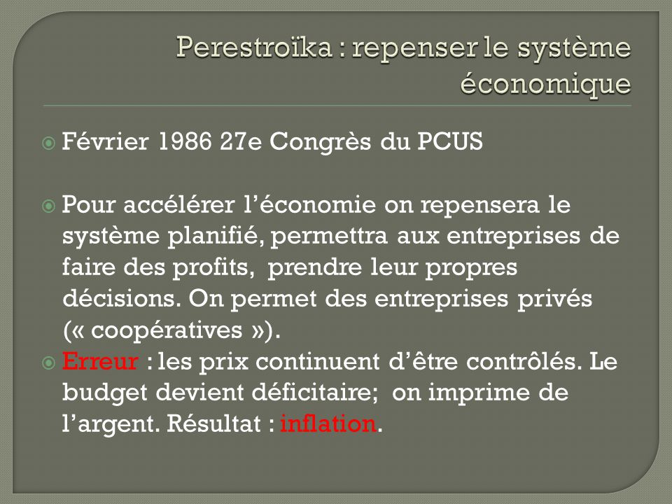Perestroïka : repenser le système économique