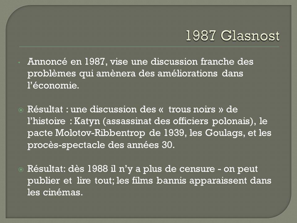 1987 Glasnost Annoncé en 1987, vise une discussion franche des problèmes qui amènera des améliorations dans l'économie.