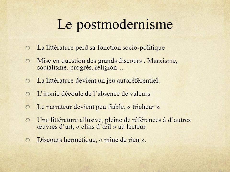 Le postmodernisme La littérature perd sa fonction socio-politique
