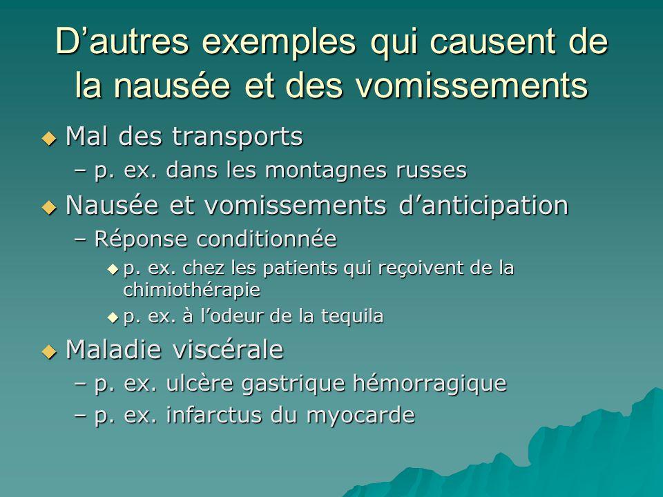 D'autres exemples qui causent de la nausée et des vomissements