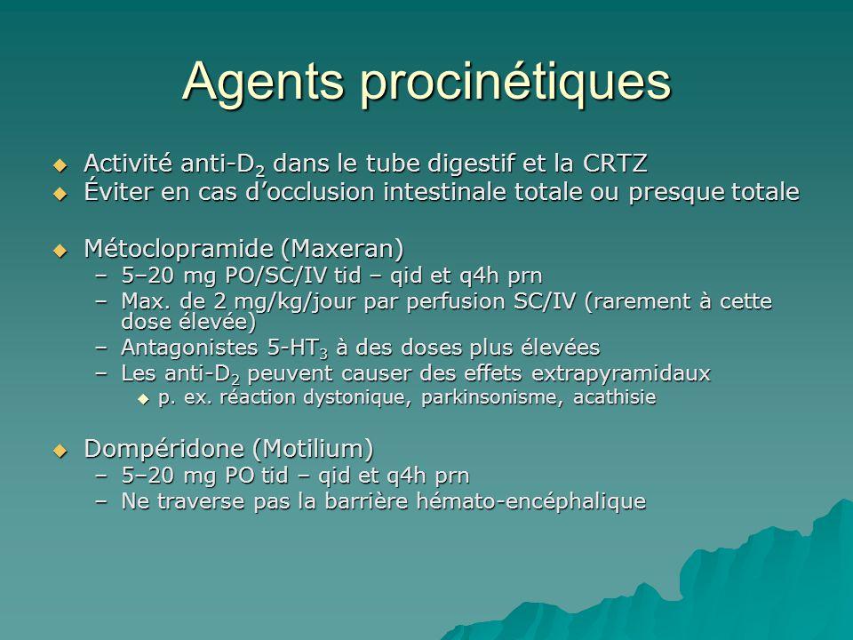 Agents procinétiques Activité anti-D2 dans le tube digestif et la CRTZ