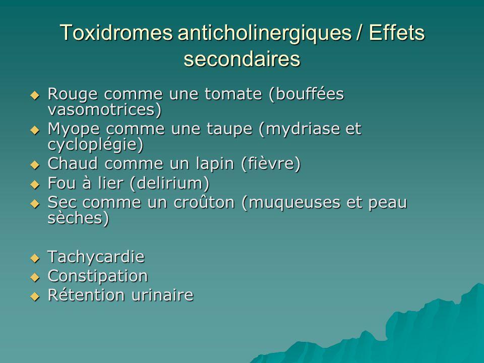 Toxidromes anticholinergiques / Effets secondaires