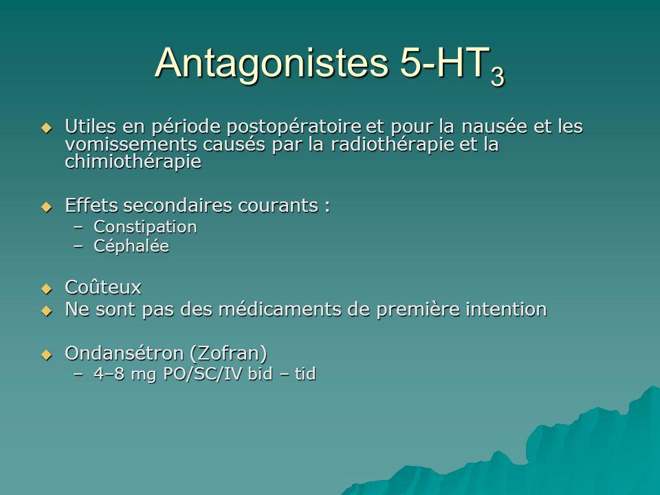 Antagonistes 5-HT3 Utiles en période postopératoire et pour la nausée et les vomissements causés par la radiothérapie et la chimiothérapie.