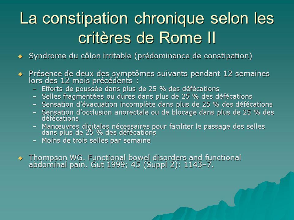 La constipation chronique selon les critères de Rome II
