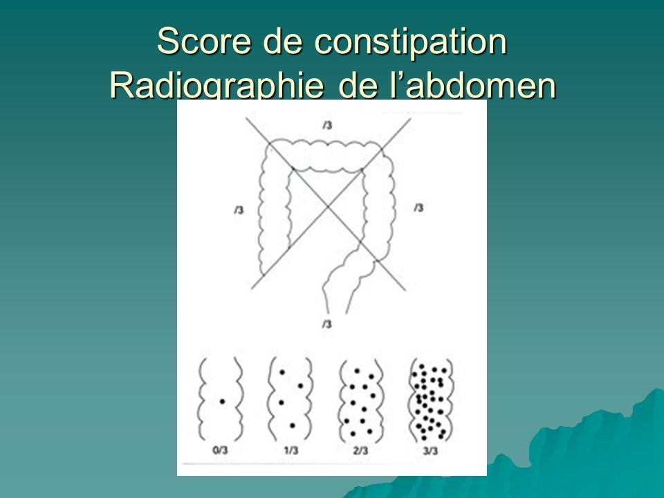 Score de constipation Radiographie de l'abdomen