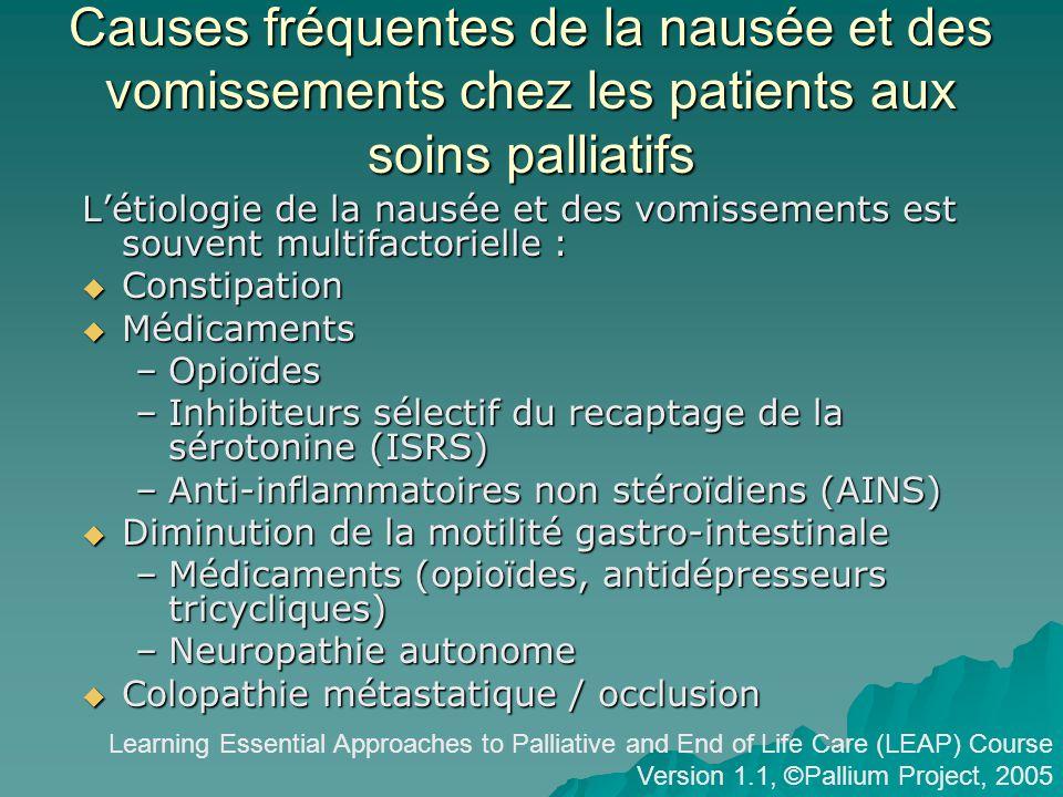 Causes fréquentes de la nausée et des vomissements chez les patients aux soins palliatifs